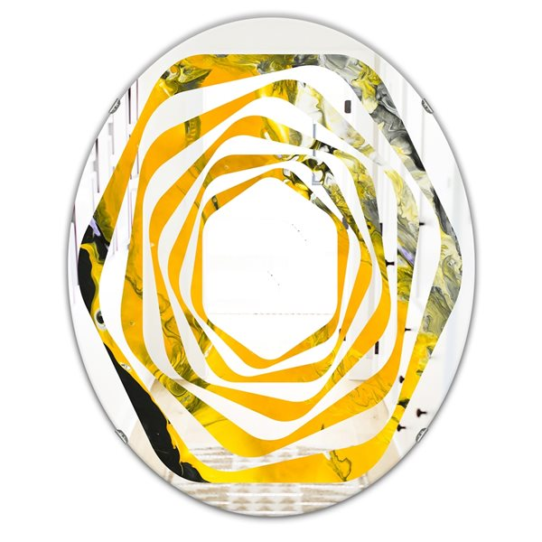 Designart Canada 31.5-in L x 23.7-in W Oval Marbled Yellow and Black Modern Polished Wall Mirror