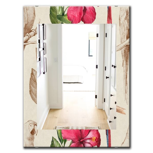 Designart Canada 23.6-in W x 35.4-in L Rectangle Pink Blossom Bohemian Polished Wall Mirror