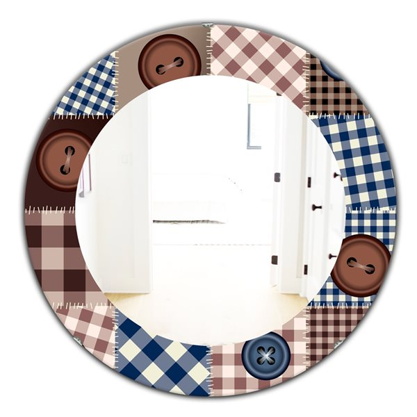Designart Canada 24-in L x 24-in W Round Buttons on Squared Patchwork Polished Wall Mirror