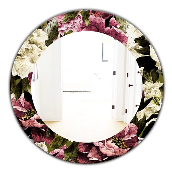 Designart Canada 24-in L x 24-in W Round Pink Obsidian Bloom Traditional Polished Wall Mirror