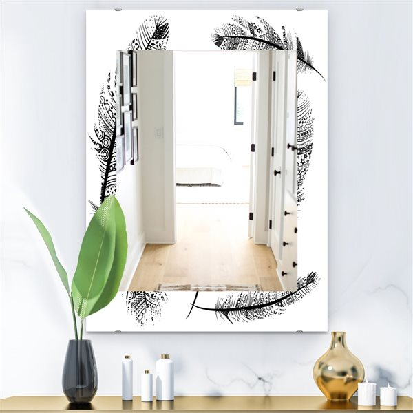 Designart Canada 35.4-in L x 23.6-in W Rectangle Black and White Feathers Polished Wall Mirror