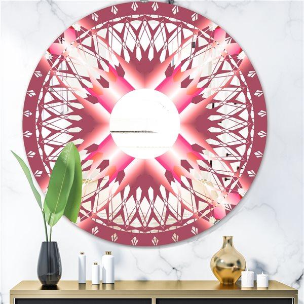 Designart Canada Round 24-in L x 24-in W Light Purple Polished Wall Mirror