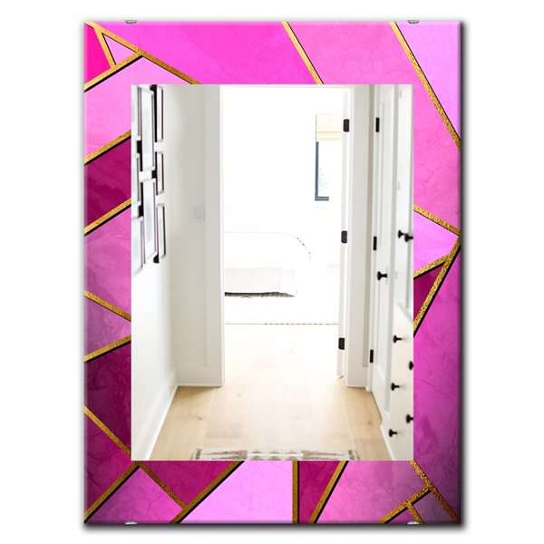 Designart Canada 35.4-in L x 23.6-in W Rectangle Pink Capital Gold Honeycomb Polished Wall Mirror