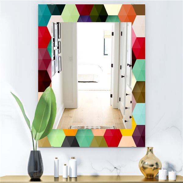Designart Canada 35.4-in L x 23.6-in W Rectangle Multicolour Honeycomb Polished Wall Mirror