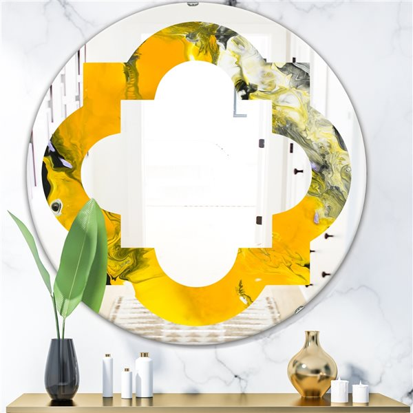 Designart Canada 24-in W x 24-in L Round Marbled Yellow and Black Modern Polished Wall Mirror
