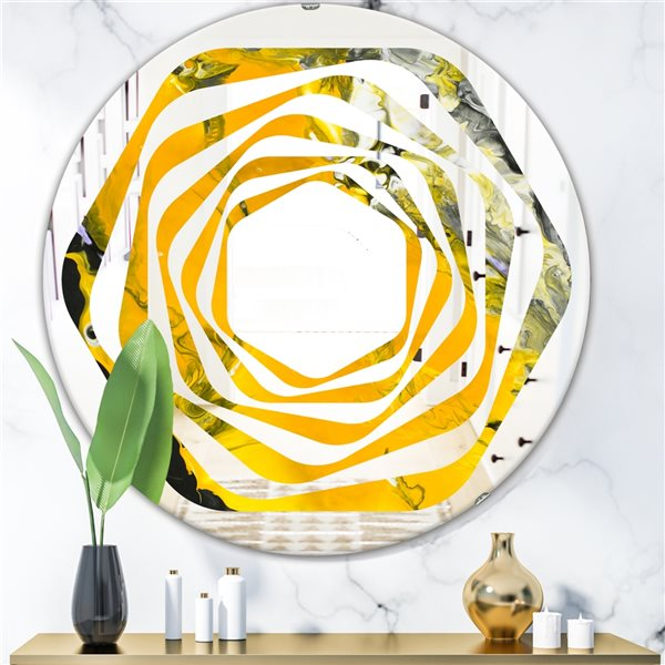 Designart Canada Round 24-in L x 24-in W Marbled Yellow and Black Polished Wall Mirror