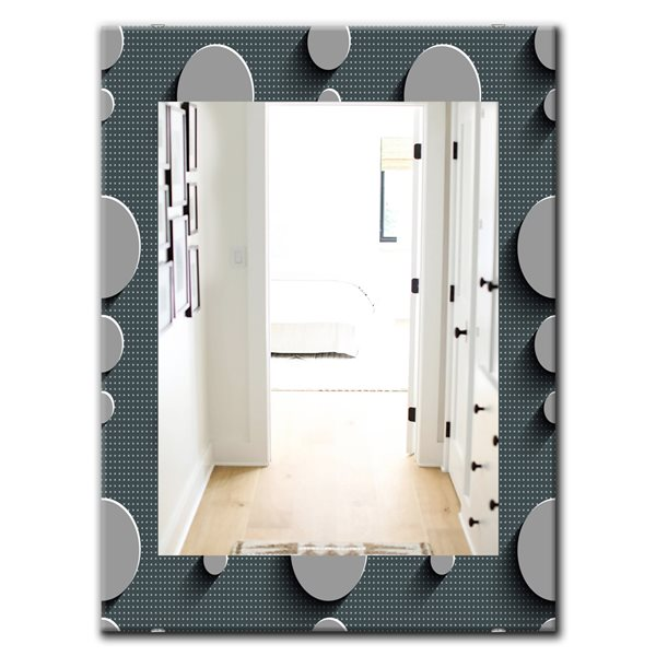 Designart Canada 35.4-in L x 23.6-in W Rectangle Grey Circles Abstract Technology Polished Wall Mirror