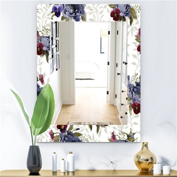 Designart Canada 35.4-in L x 23.6-in W Rectangle Red Peonies and Pansies Flowers Polished Wall Mirror