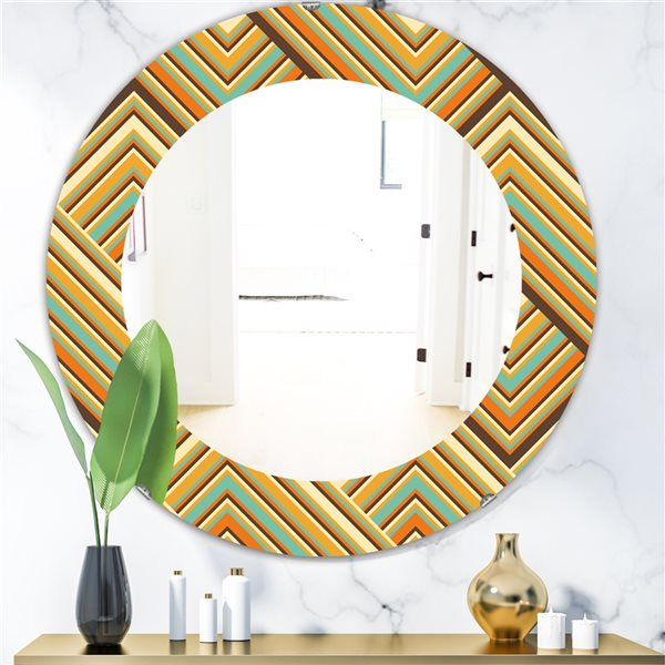 Designart Canada 24-in L x 24-in W Round Retro Square Waves Polished Wall Mirror