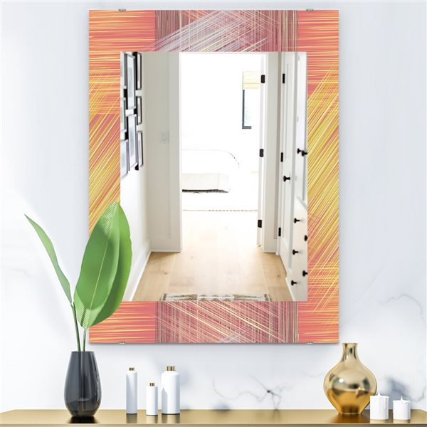 Designart Canada 35.4-in L x 23.6-in W Rectangle Yellow and Pink Striped Pattern Polished Wall Mirror