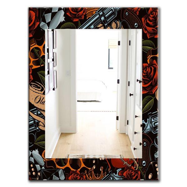 Designart Canada 35.4-in L x 23.6-in W Rectangle Old School Tattoo Pattern Polished Wall Mirror
