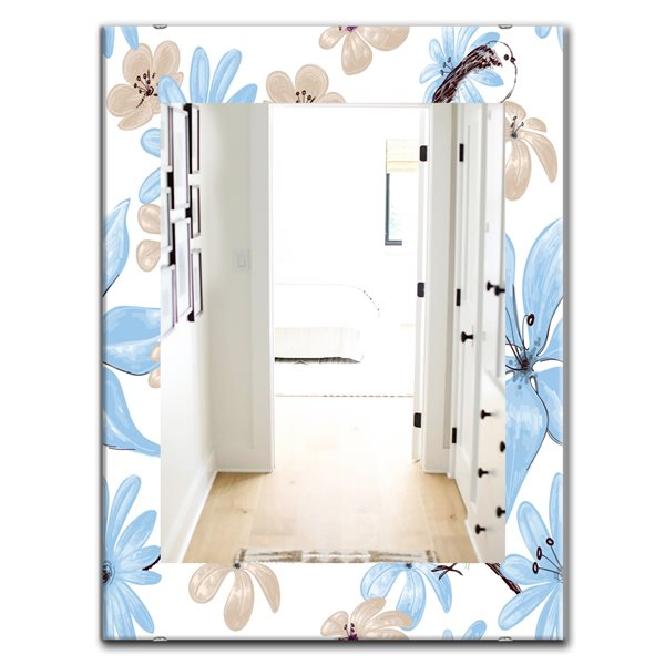 Designart Canada 35.4-in L x 23.6-in W Rectangle Drawing of Blue Flowers with Little Bird Polished Wall Mirror