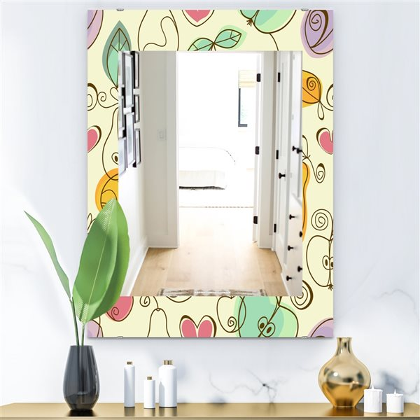 Designart Canada 35.4-in L x 23.6-in W Rectangle Apples Pears and Cherries Polished Wall Mirror