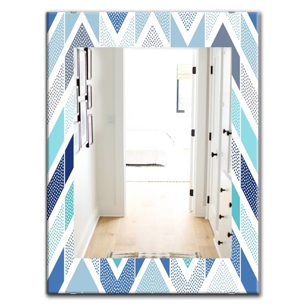 Designart Canada 35.4-in L x 23.6-in W Rectangle Retro Dotted Blue Wave Pattern Polished Wall Mirror