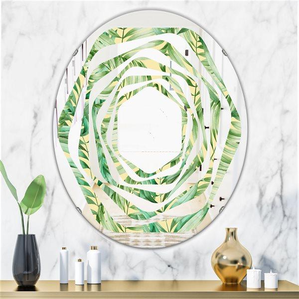 Designart Canada 31.5-in L x 23.7-in W Oval Tropical Retro Foliage Polished Wall Mirror