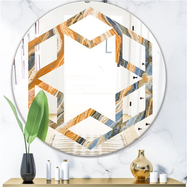 Designart Canada 24-in W x 24-in L Round Multicolour Marbled Geode Polished Wall Mirror