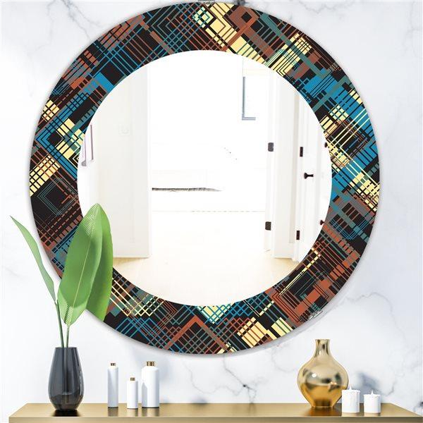 Designart Canada 24-in L x 24-in W Round Obsidian Impressions Bohemian Polished Wall Mirror