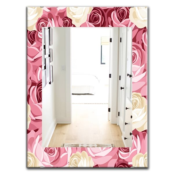 Designart Canada Rectangle 35.4-in L x 23.6-in W Pink Blossom Flowers Traditional Polished Wall Mirror