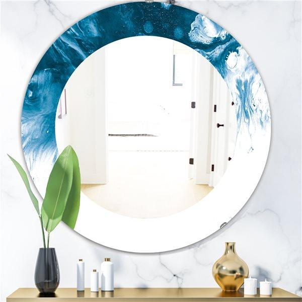 Designart Canada 24-in L x 24-in W Round Marbled Geode Polished Wall Mirror