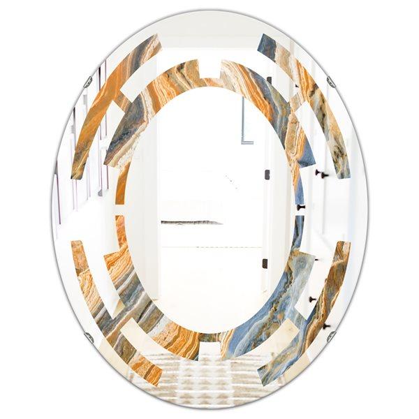 Designart Canada Oval 23.7-in W x 31.5-in L Multicolour Marbled Geode Modern Polished Wall Mirror