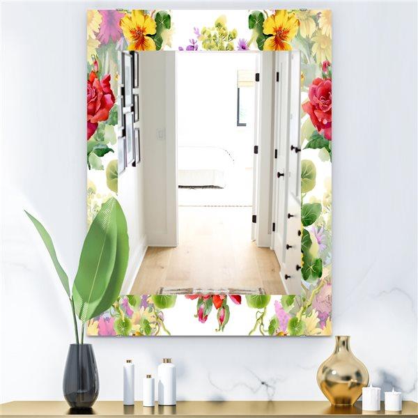 Designart Canada 35.4-in L x 23.6-in W Rectangle Multicolour Blossom Bohemian Polished Wall Mirror