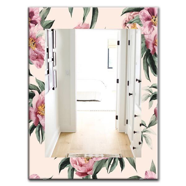 Designart Canada Rectangle 23.6-in W x 35.4-in L Pink Blossom Traditional Polished Wall Mirror
