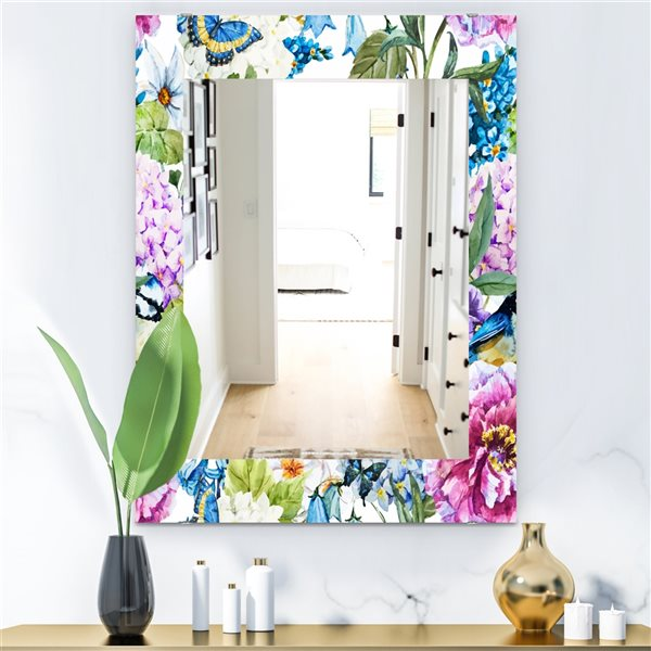 Designart Canada 35.4-in L x 23.6-in W Rectangle Pink and Purple Blossom Polished Wall Mirror