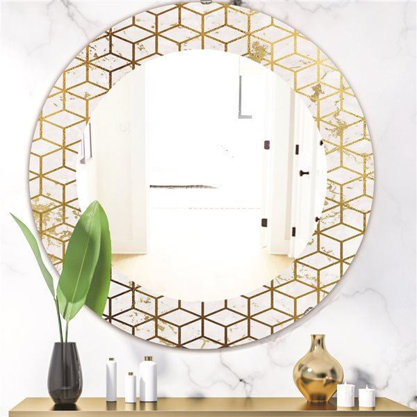 Designart Canada 24-in L x 24-in W Round Yellow Capital Gold Honeycomb Polished Wall Mirror