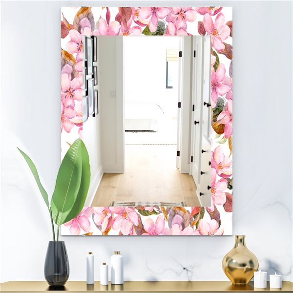 Designart Canada 35.4-in L x 23.6-in W Rectangle Pink Blossom Flowers Polished Wall Mirror