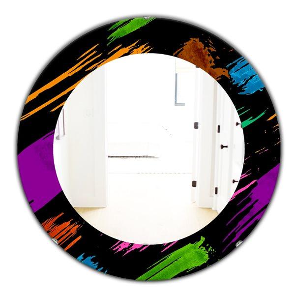 Designart Canada 24-in W x 24-in L Round Obsidian Impressions Polished Wall Mirror