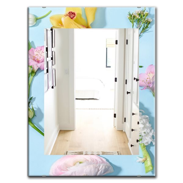 Designart Canada 35.4-in L x 23.6-in W Rectangle Blooming Flowers Polished Wall Mirror