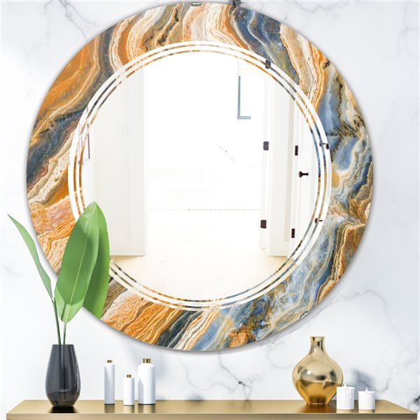 Designart Canada Round 24-in W x 24-in L Multicolour Marbled Geode Polished Wall Mirror