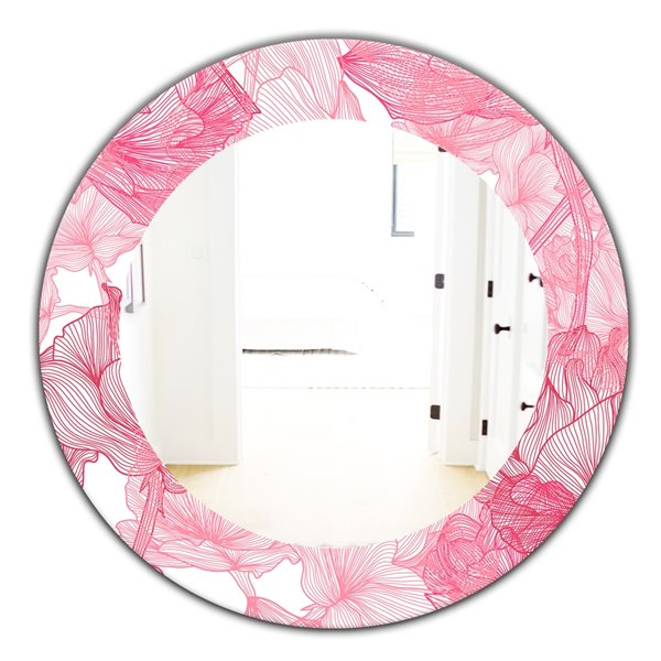 Designart Canada 24-in L x 24-in W Round Pink Spheres Traditional Polished Wall Mirror