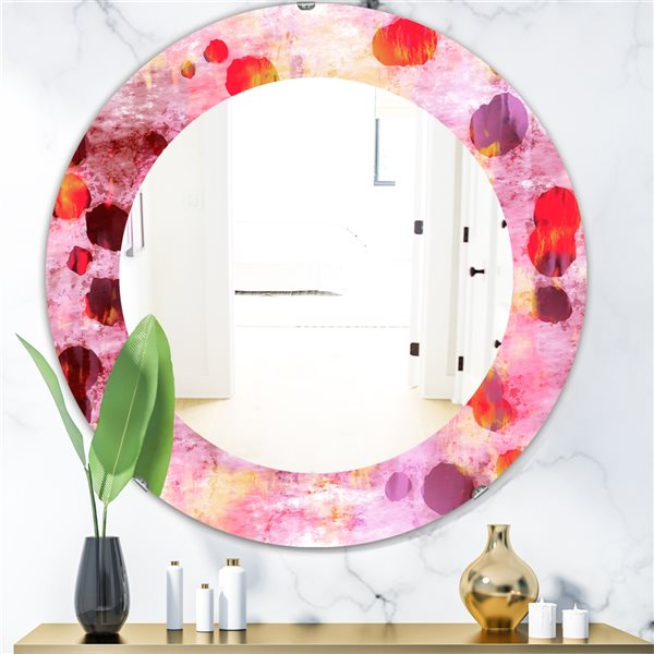 Designart Canada 24-in L x 24-in W Round Pink Spheres Modern Polished Wall Mirror