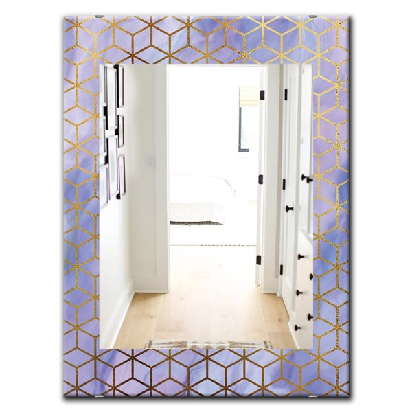 Designart Canada 35.4-in L x 23.6-in W Rectangle Capital Gold Honeycomb Modern Polished Wall Mirror