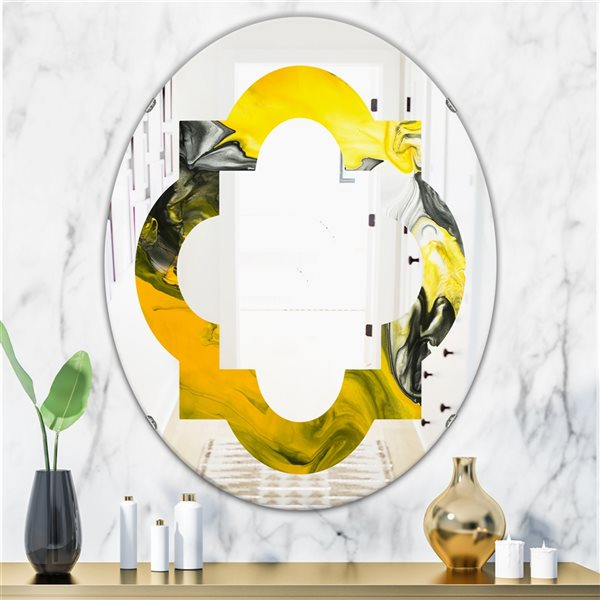 Designart Canada 31.5-in L x 23.7-in W Oval Marbled Yellow Modern Polished Wall Mirror