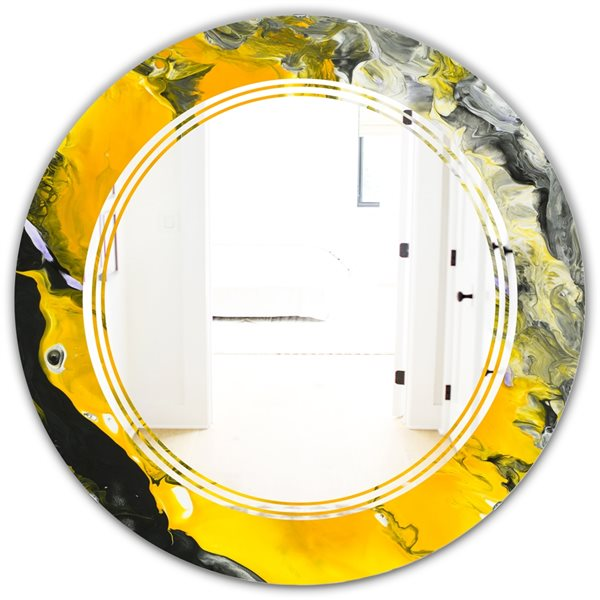 Designart Canada Round 24-in W x 24-in L Marbled Yellow and Black Polished Wall Mirror