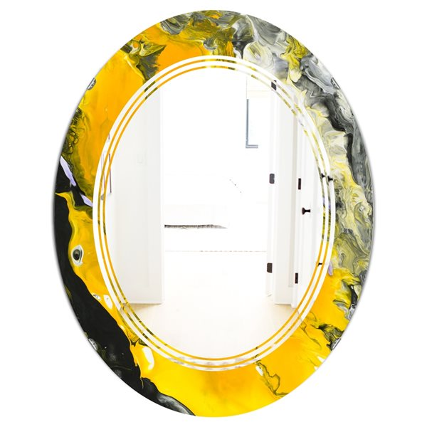 Designart Canada 31.5-in L x 23.7-in W Oval Yellow and Black Marble Polished Wall Mirror