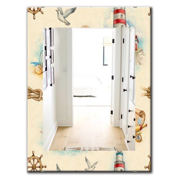Designart Canada 35.4-in L x 23.6-in W Rectangle Watch Tower Binocular Sail Boat Polished Wall Mirror