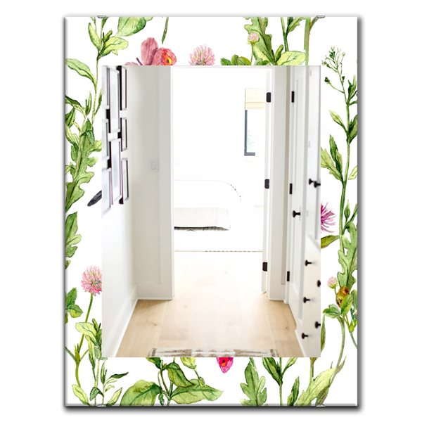 Designart Canada 35.4-in L x 23.6-in W Rectangle Painting of Meadow with Butterflies Birds and Herbs Polished Wall Mirror