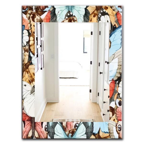 Designart Canada 35.4-in L x 23.6-in W Rectangle White Red Blue and Brown Butterfly Pattern Polished Wall Mirror