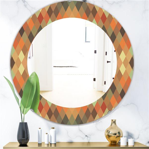 Designart Canada 24-in L x 24-in W Round Triangular Colourfields Modern Polished Wall Mirror