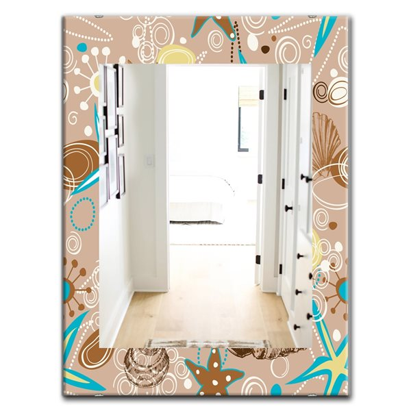 Designart Canada 35.4-in L x 23.6-in W Rectangle Brown Costal Creatures Polished Wall Mirror