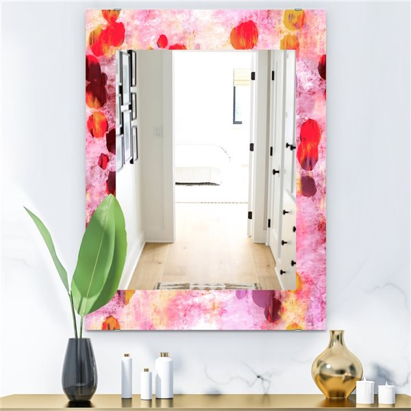 Designart Canada 35.4-in L x 23.6-in W Rectangle Pink Spheres Modern Polished Wall Mirror