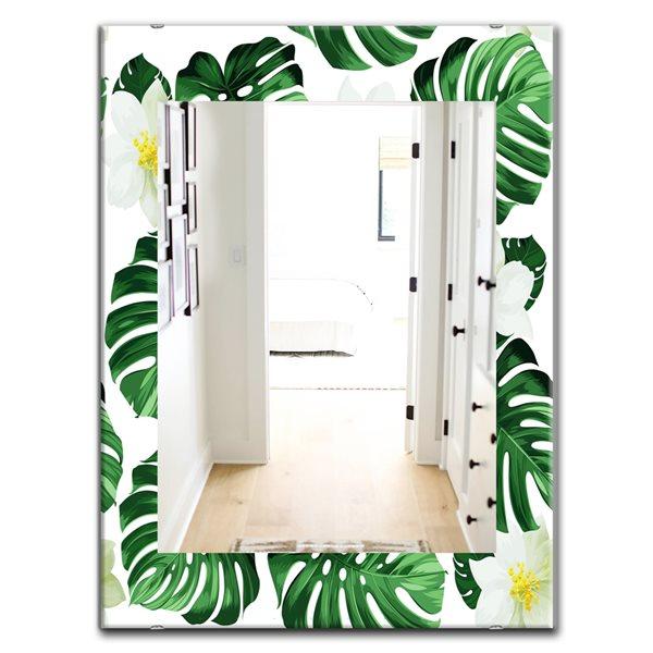 Designart Canada 35.4-in L x 23.6-in W Rectangle Green Tropical Mood Foliage Polished Wall Mirror