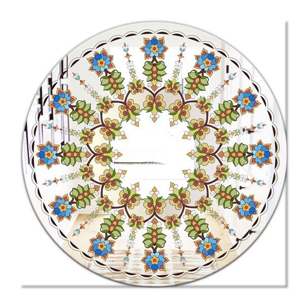 Designart Canada 24-in L x 24-in W Round Tiny Flowers Polished Wall Mirror