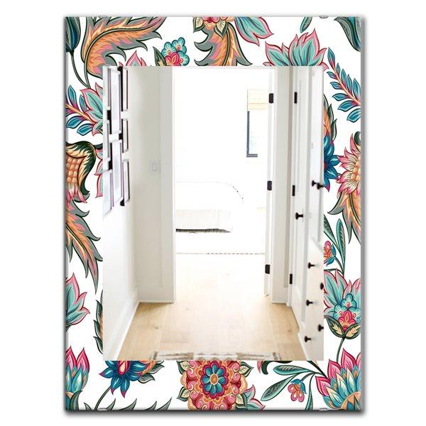 Designart Canada Rectangle 35.4-in L x 23.6-in W Multicolour Blossom Flowers Polished Wall Mirror