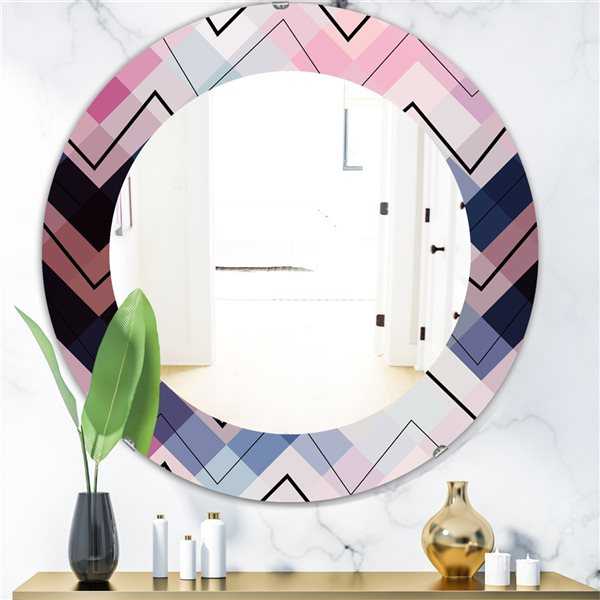 Designart Canada 24-in L x 24-in W Round Blue and Pink Geometric Chevron Polished Wall Mirror