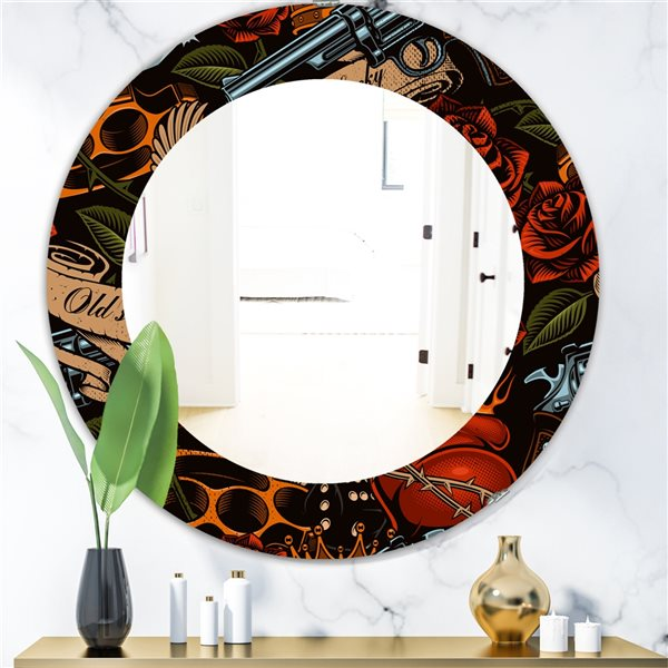 Designart Canada 24-in L x 24-in W Round Old School Tattoo Pattern Polished Wall Mirror