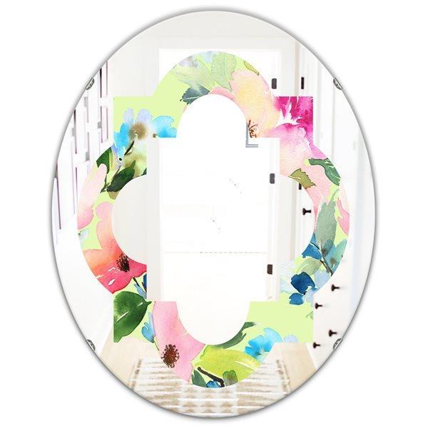 Designart Canada 31.5-in L x 23.7-in W Oval Pink Floral Botanical Retro Polished Wall Mirror